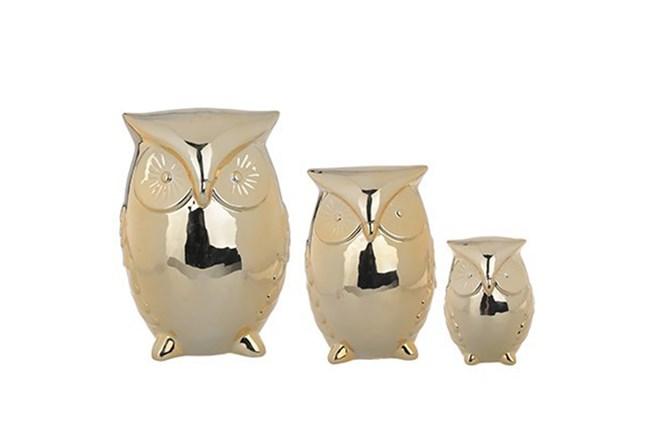 3 Piece Set Light Gold Owls
