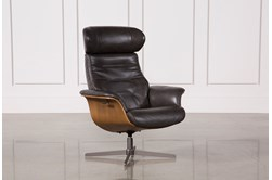 Amala Dark Grey Leather Reclining Swivel Chair With Adjustable Headrest
