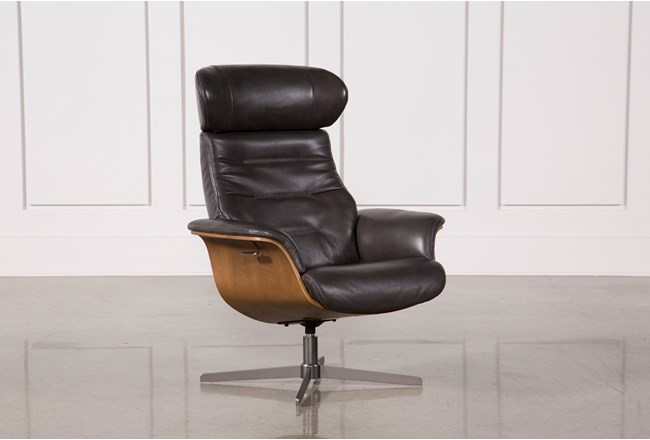 Amala Dark Grey Leather Reclining Swivel Chair With Adjustable Headrest - 360
