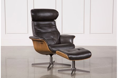 Amala Dark Grey Leather Reclining Swivel Chair & Ottoman