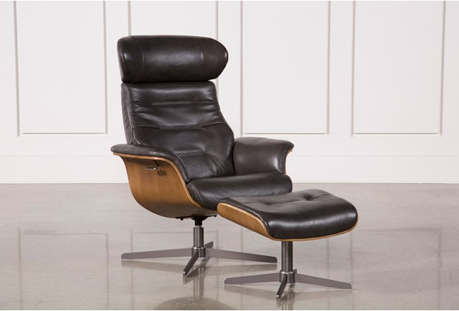 Amala Dark Grey Leather Reclining Swivel Chair With Adjustable Headrest And Ottoman - 360