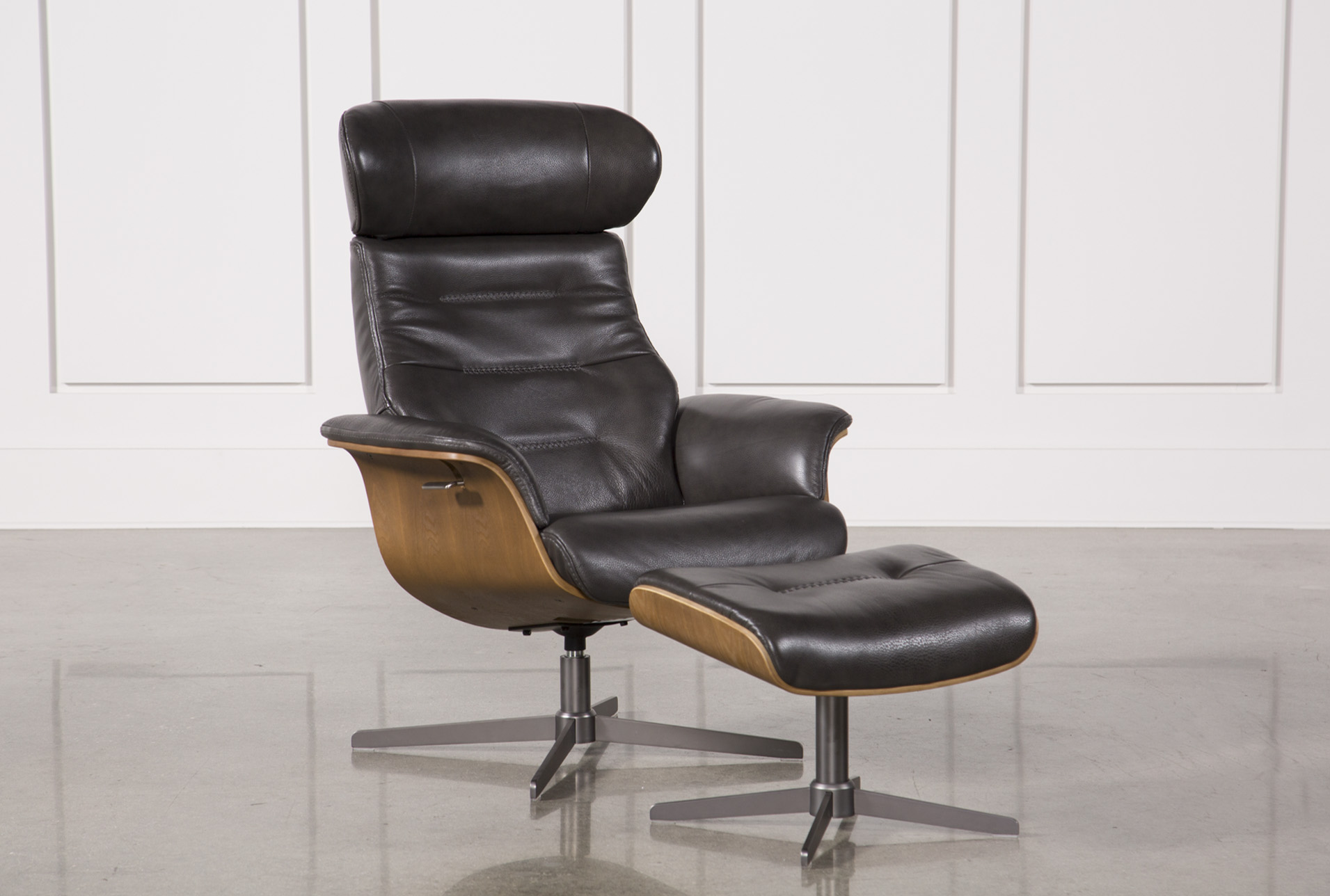 Amala Dark Grey Leather Reclining Swivel Chair U0026 Ottoman   360