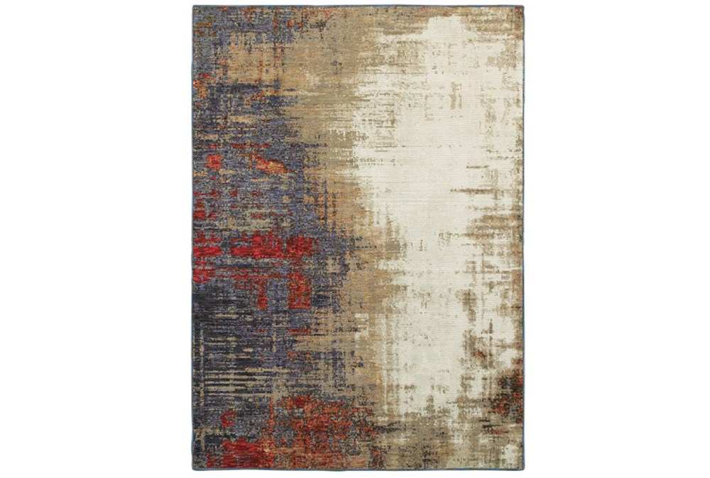 79X114 Rug-Marshall Charcoal And Red