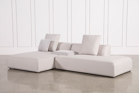 Maggie Light Grey 3 Piece Sectional W/Laf Chaise & Plaid Stool