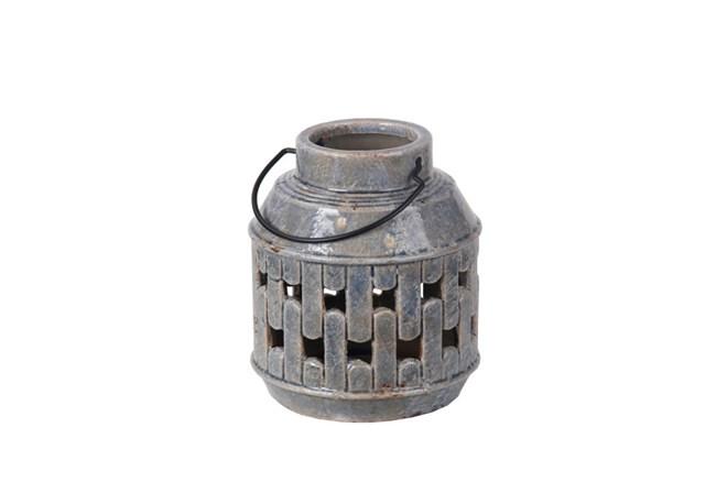 Small Blue Ceramic Lantern - 360