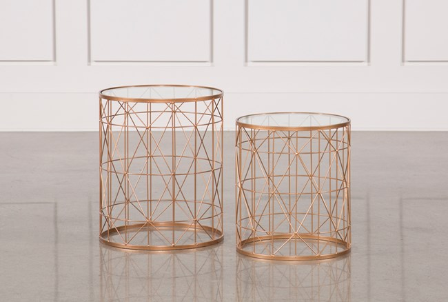 2 Piece Metal Side Tables - 360