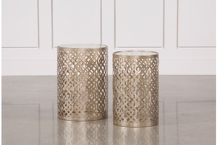 2 Piece Champagne Metal Side Table - Main