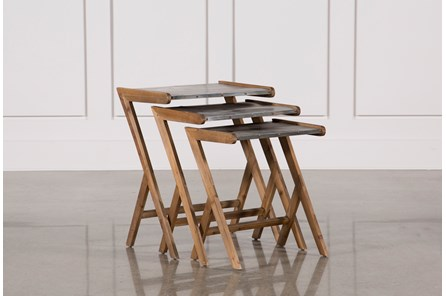3 Piece Metal And Wood Tables - Main