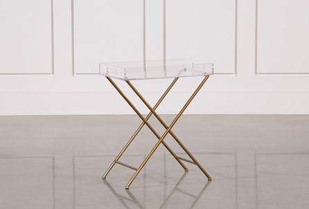 Metal And Acrylic Tray Table