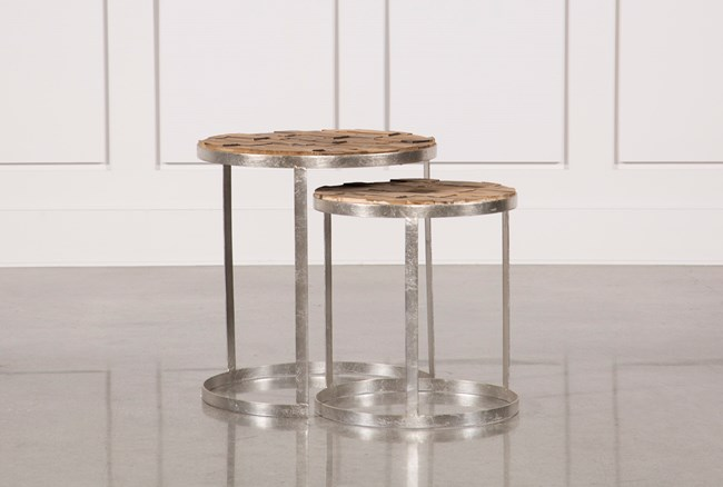 2 Piece Wooden Nesting Tables - 360