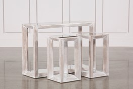 3 Piece Beveled Mirror Top Nesting Tables
