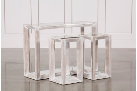 3 Piece Beveled Mirror Top Nesting Tables - Main