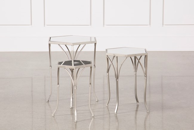 3 Piece Mirror Accent Tables - 360