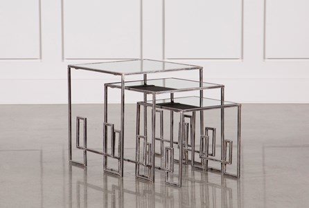 3 Piece Metal And Gold Nesting Tables