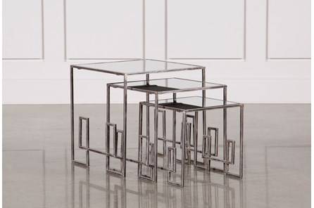 3 Piece Metal And Gold Nesting Tables - Main