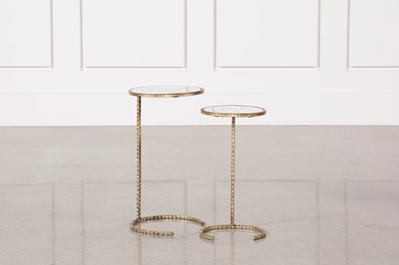 2 Piece Metal And Marble Side Tables