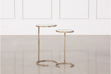2 Piece Metal And Marble Side Tables - Main
