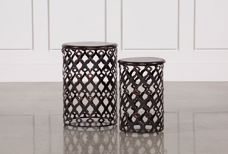 2 Piece Rustic Metal And Wood Side Tables