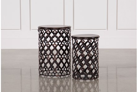 2 Piece Rustic Metal And Wood Side Tables - Main