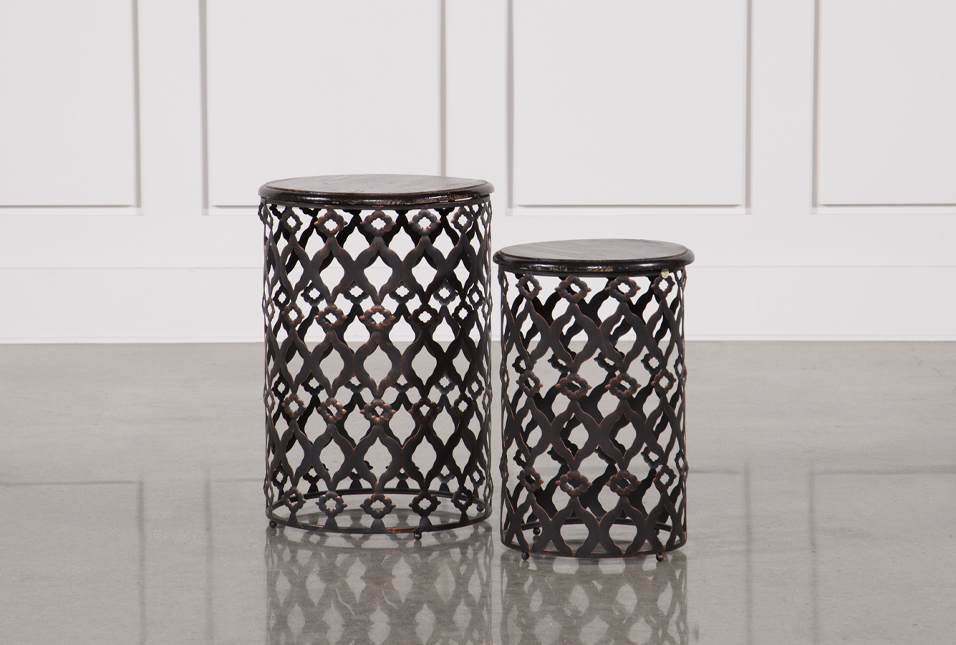 2 Piece Rustic Metal And Wood Side Tables   360