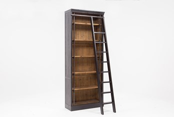 """Barton 103"""" Bookcase With Ladder"""