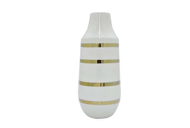 16 Inch White And Gold Striped Vase Living Spaces