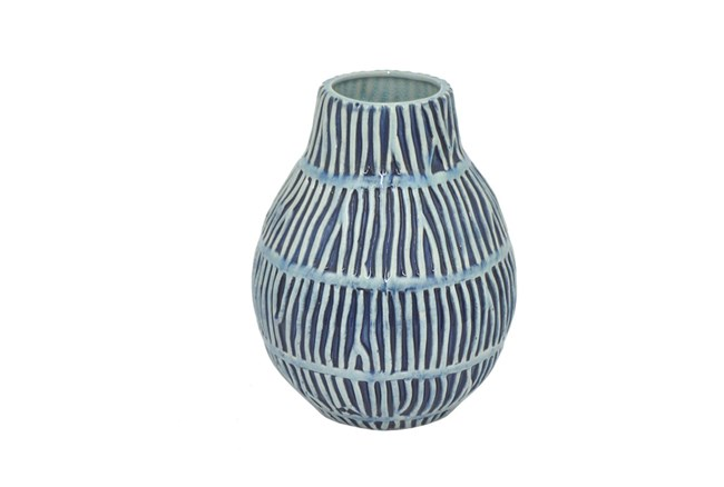 9 Inch Cobalt Ceramic Vase - 360