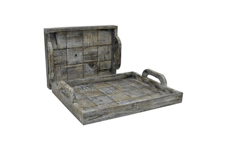 2 Piece Set Slate Wood Trays - Main