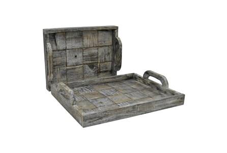 2 Piece Set Slate Wood Trays - Main