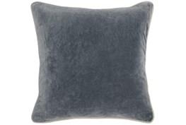 18X18 Steel Grey Stone Washed  Velvet Throw Pillow