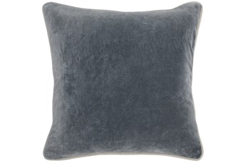 18X18 Steel Grey Stone Washed  Velvet Throw Pillow