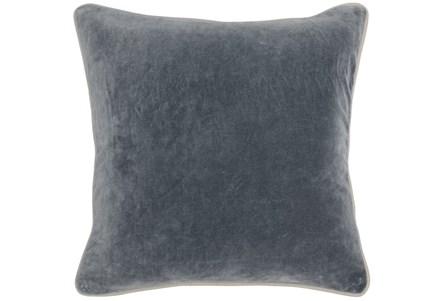 18X18 Steel Grey Stone Washed  Velvet Throw Pillow - Main