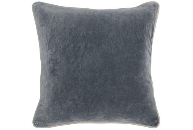 18X18 Steel Grey Stone Washed  Velvet Throw Pillow - 360