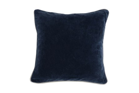 18X18 Navy Blue Stonewashed Velvet Throw Pillow - Main