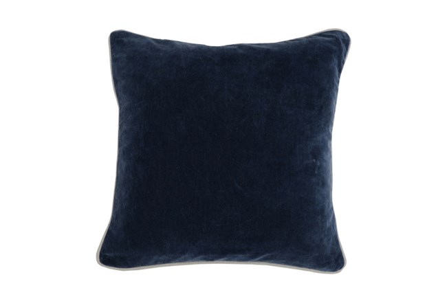 18X18 Navy Blue Stonewashed Velvet Throw Pillow - 360