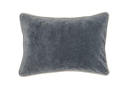 14X20 Steel Grey Stone Washed Velvet Lumbar Throw Pillow