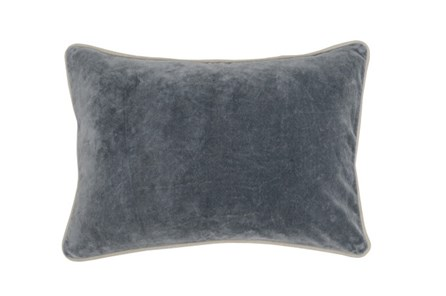 Accent Pillow-Steel Grey Washed Velvet 20X14 - Main