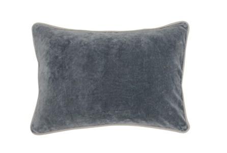 14X20 Steel Grey Stone Washed Velvet Lumbar Throw Pillow - Main