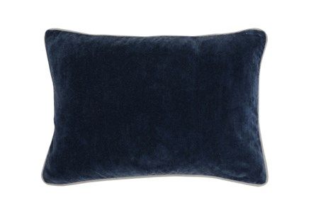 Accent Pillow-Navy Blue Washed Velvet 20X14 - Main