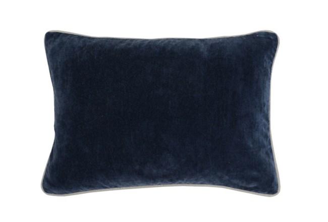 14X20 Navy Blue Stonewashed Velvet Lumbar Throw Pillow - 360