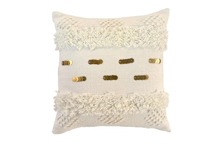 Accent Pillow-Ivory Bohemian Ruffle 22X22 - Main