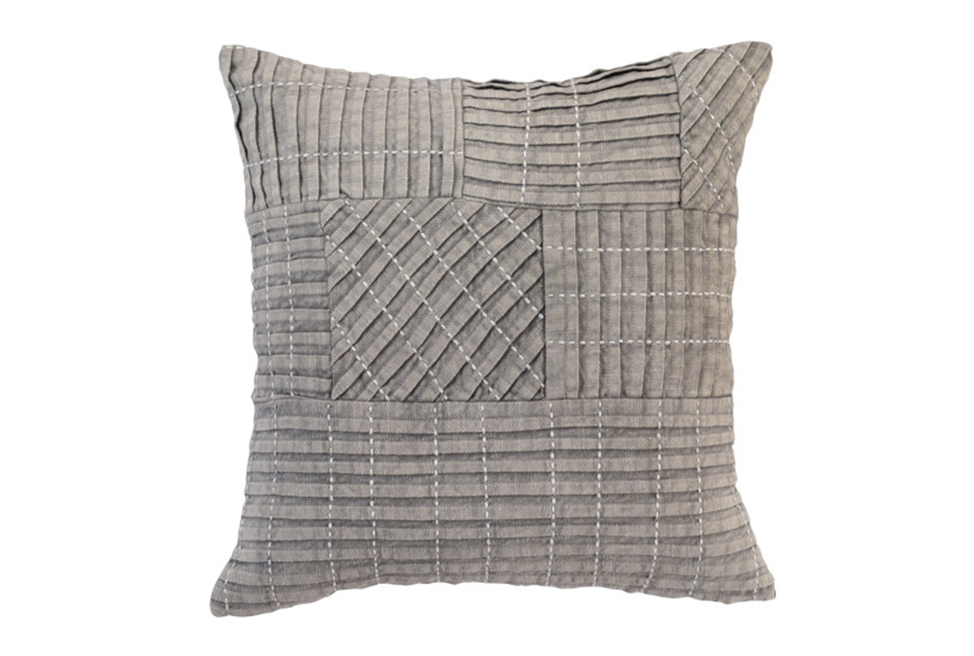 Accent Pillow Grey Patchwork 18x18 Living Spaces