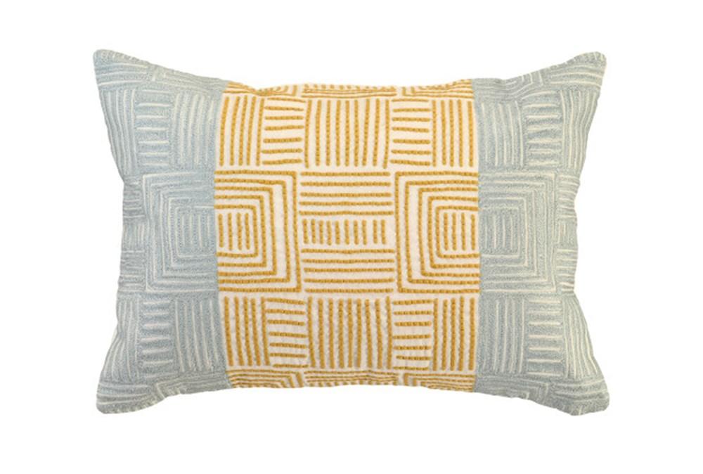 Accent Pillow-Aqua And Mustard Maze Work 20X14