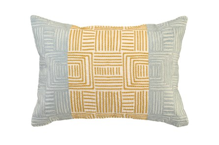 Accent Pillow-Aqua And Mustard Maze Work 20X14 - Main