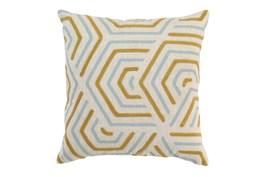 Accent Pillow-Aqua And Mustard Geometric 18X18