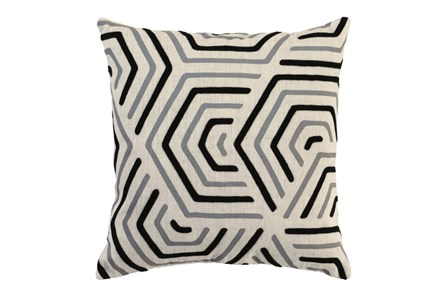 Accent Pillow-Black And Grey Geometric 18X18