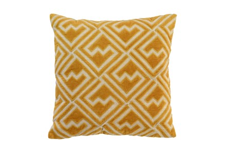 Accent Pillow-Mustard Diamond Maze 18X18 - Main