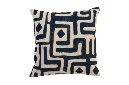 Accent Pillow-Ink Blue Batik Maze 18X18