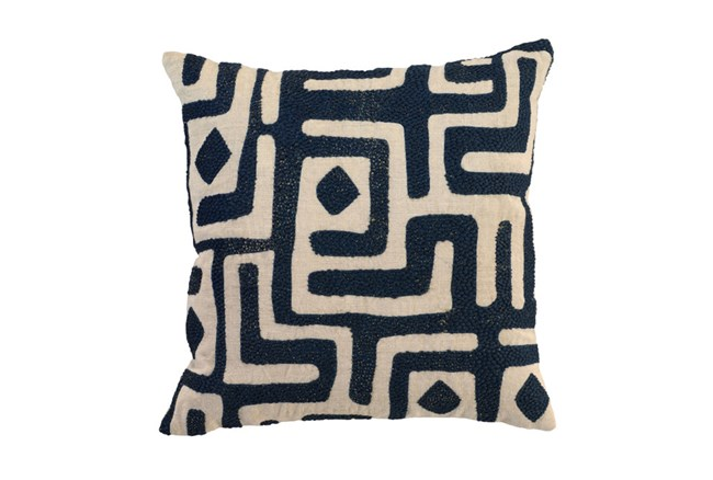 Accent Pillow-Ink Blue Batik Maze 18X18 - 360