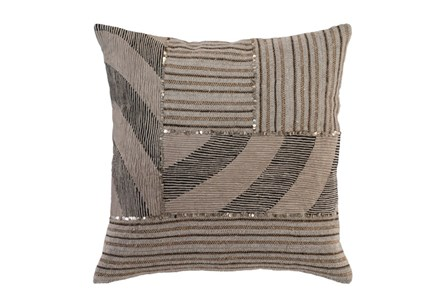 Accent Pillow-Taupe Mixed Media Patchwork 22X22